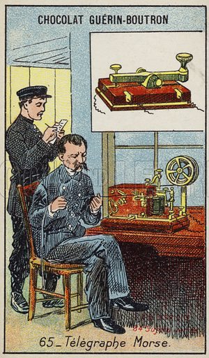 Morse telegraph. French educational card, late 19th/early 20th century.