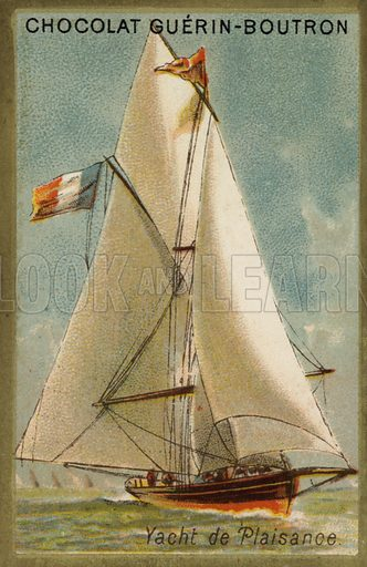 Pleasure yacht. French educational card, late 19th/early 20th century.