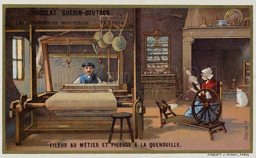 Spinning using a frame and a wheel and distaff. French educational card, late 19th/early 20th century.