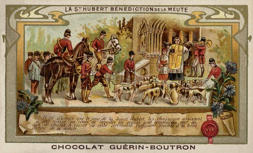 The blessing of the pack. French educational card, late 19th/early 20th century.