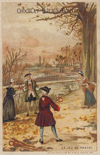 Game of ringtoss. French educational card, late 19th/early 20th century.