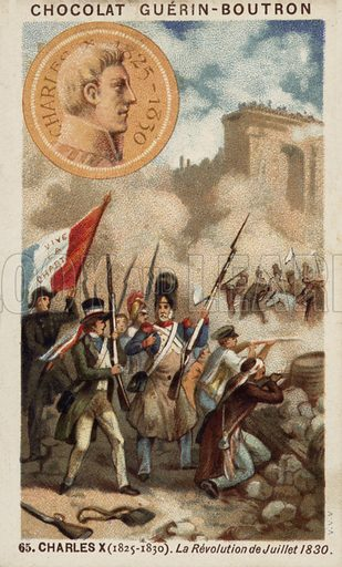 Charles X of France and the Revolution of July 1830. French educational card, late 19th/early 20th century.
