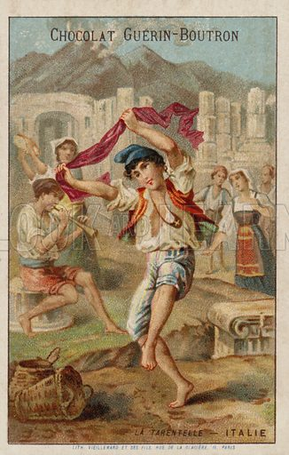 Dancing the tarantella, Italy. French educational card, late 19th/early 20th century.