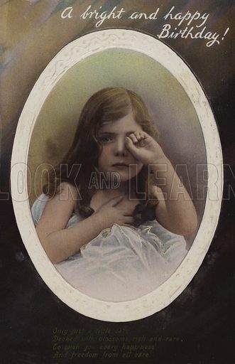 Pretty young girl crying, Happy Birthday Card