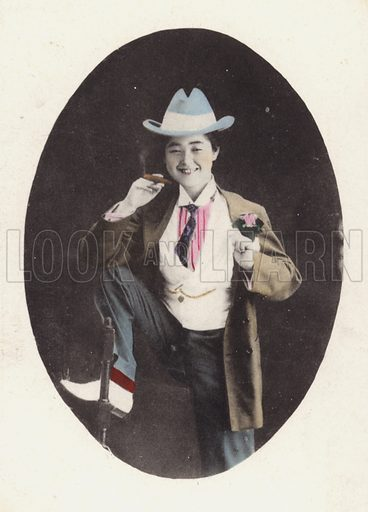 Japanese girl, in Western male attire