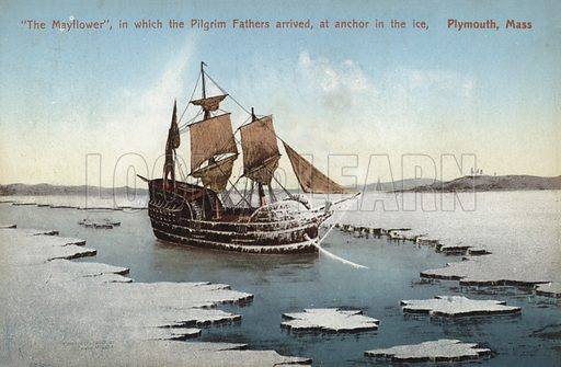 The Mayflower, in which the Pilgrim Fathers arrived, at anchor in the ice, Plymouth, Massachusetts