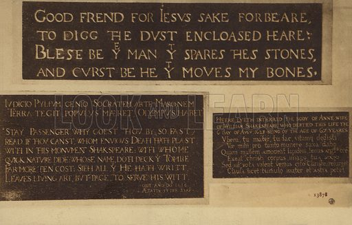 Tomb stone of Shakespeare's wife, Anne Shakespeare - Look
