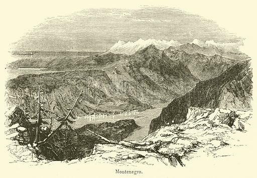 Montenegro. Illustration for The Gallery of Geography by Thomas Milner (William Mackenzie, c 1880).