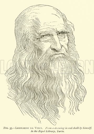 Leonardo da Vinci, from a drawing in red chalk by himself, in the Royal Library, Turin. Illustration for A History of Art for Beginners and Students by Clara Erskine Clement (Frederick A Stokes, 1887).