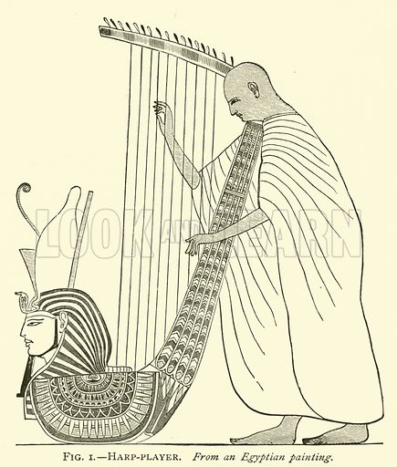 Harp-player, from an Egyptian painting. Illustration for A History of Art for Beginners and Students by Clara Erskine Clement (Frederick A Stokes, 1887).