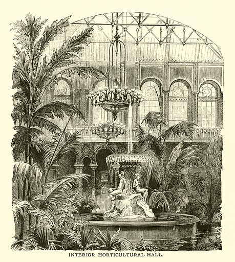 Interior, Horticultural Hall. Illustration for Industrial and Fine Arts of the World as shown at the Philadelphia and other International Exhibitions by Phillip T Sandhurst et al (P W Ziegler, 1879).