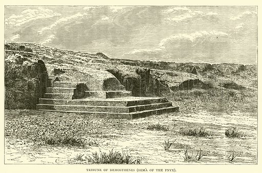 Tribune of Demosthenes, Bema of the Pnyx. Illustration for The Land of Greece Described and Illustrated by Charles Henry Hanson (T Nelson, 1886).