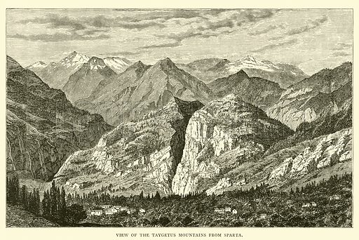 View of the Taygetus Mountains from Sparta. Illustration for The Land of Greece Described and Illustrated by Charles Henry Hanson (T Nelson, 1886).