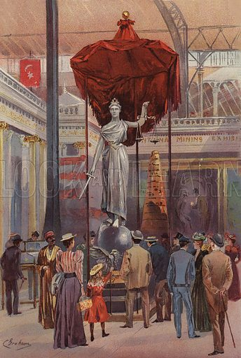 The Silver Statue, Montana Exhibit. Illustration of The Columbian Exposition, 1893.  Signed C Graham.  Chromolithograph of exceptional quality.