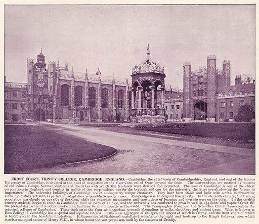 Front Court, Trinity College, Cambridge, England. Illustration for Portfolio of the World's Photographs introduced by James P Boyd (Manufacturers' Book Company, c 1890).