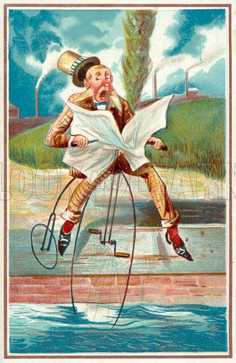 Man riding a penny farthing into a canal. Educational card, late 19th or early 20th century.