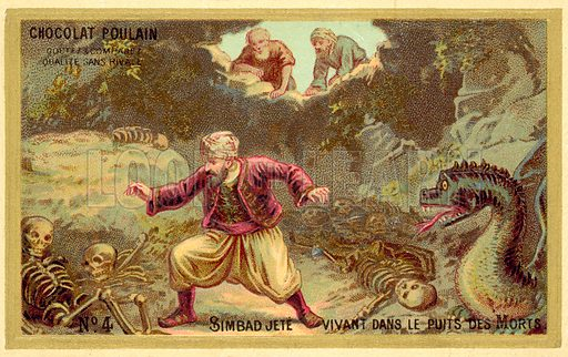 Sinbad is thrown alive into the pits of the dead. Educational card, late 19th or early 20th century.
