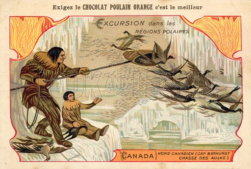 Hunting birds, Cape Bathurst, northern Canada. Educational card, late 19th or early 20th century.