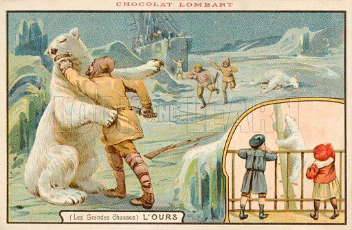 Hunting polar bears. Educational card, late 19th or early 20th century.