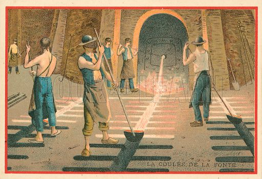 Casting molten iron. Educational card, late 19th or early 20th century.