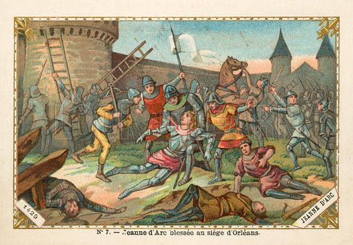 Joan of Arc wounded at the Siege of Orleans, 1429. Educational card, late 19th or early 20th century.