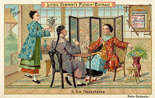 The tea house. Liebig educational card.