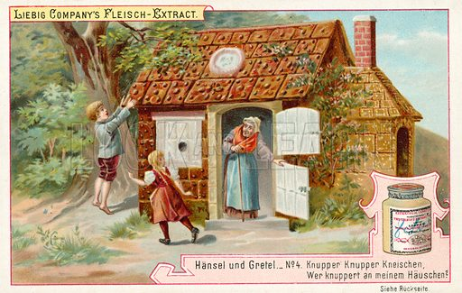 Hansel and Gretel: Hansel and Gretel find the gingerbread house. Liebig educational card.