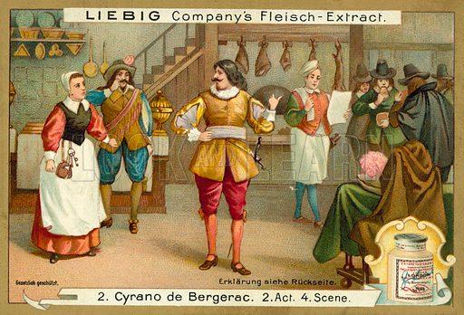 Scene from Cyrano de Bergerac. Liebig educational card.