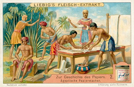 Ancient Egyptian papermakers. Liebig educational card.