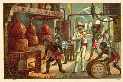 A rum distillery in Jamaica. French educational card.
