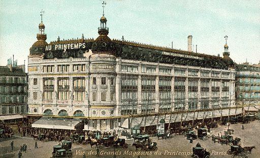 Printemps department store, Paris. Postcard.
