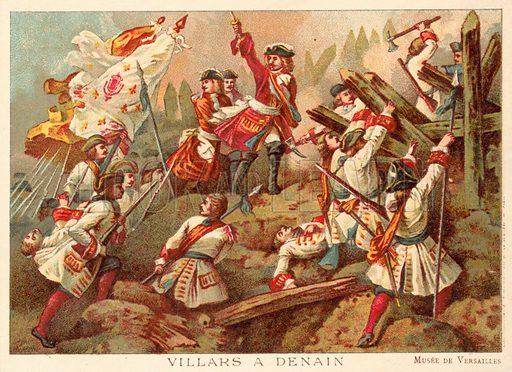 Marshal Villars at the Battle of Denain, France, 1712. French educational card.