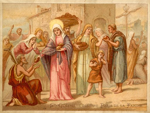 St Genevieve saving Paris from famine, 465. French educational card.