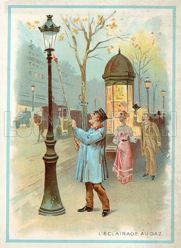 Gas lighting. French educational card, late 19th or early 20th century.