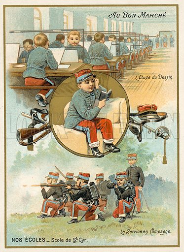 Ecole Speciale Militaire de Saint-Cyr, French military academy. French educational card, late 19th or early 20th century.