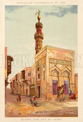 Egypt (a Cairo street), Exposition Universelle 1889, Paris. French educational card, late 19th or early 20th century.