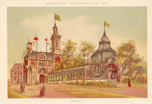 Pavilion of Brazil, Exposition Universelle 1889, Paris. French educational card, late 19th or early 20th century.