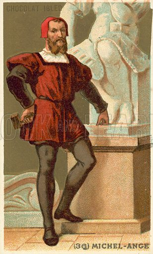 Michelangelo (1475–1564), Italian artist. French educational card, late 19th or early 20th century.