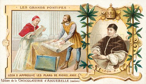 Pope Leo X approving the plans of Michelangelo for the facade of the Basilica of San Lorenzo in Florence, 16th Century. French educational card, late 19th or early 20th century.