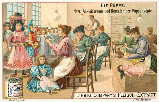 Dressing and painting dolls. Liebig educational card, late 19th or early 20th century.