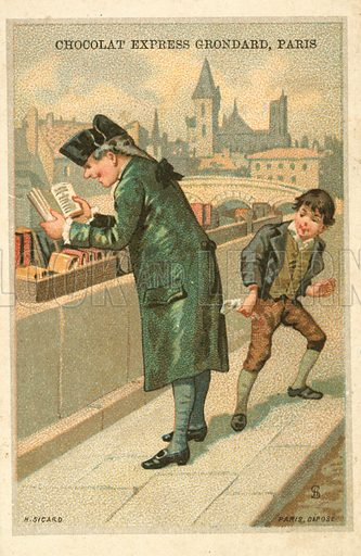 Pickpocket. French educational card, late 19th or early 20th century.