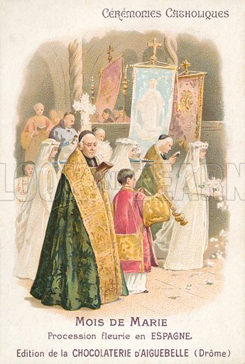 Floral procession in honour of the Virgin Mary in the month of May, Spain. French educational card, late 19th or early 20th century, from a series on Catholic ceremonies.