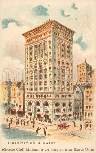14 storey skyscraper, USA. French educational card, late 19th or early 20th century.