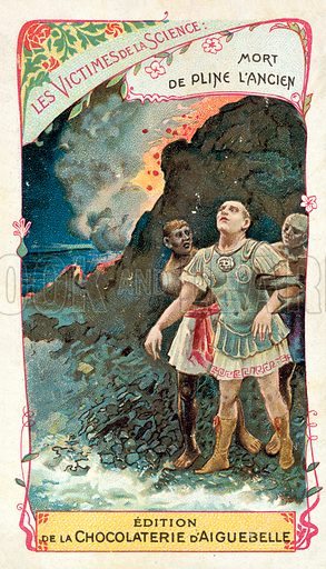 Death of Pliny the Elder in the eruption of Vesuvius, 79. French educational card, late 19th or early 20th century.