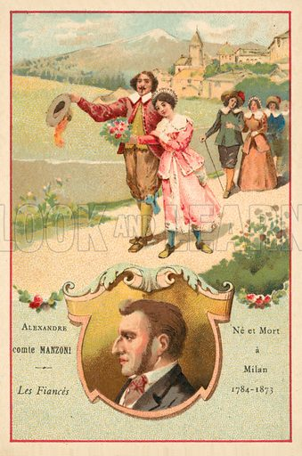 Alessandro Manzoni, Italian author, and a scene from his novel The Betrothed. French educational card, late 19th or early 20th century.