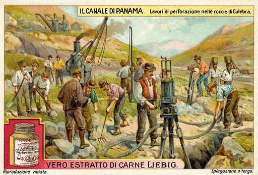 Rock drilling work in the Culebra Cut, Panama Canal. Liebig educational card, early 20th century.