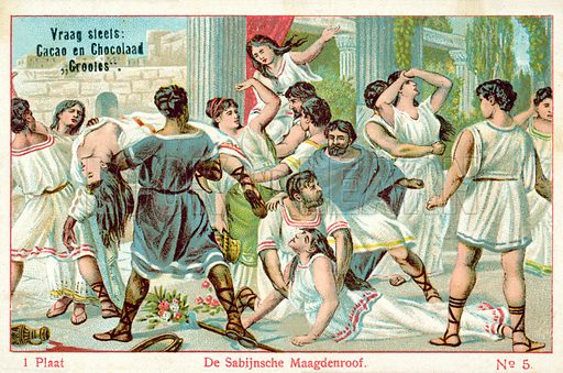 The rape of the Sabine women. Educational card, late 19th or early 20th century.