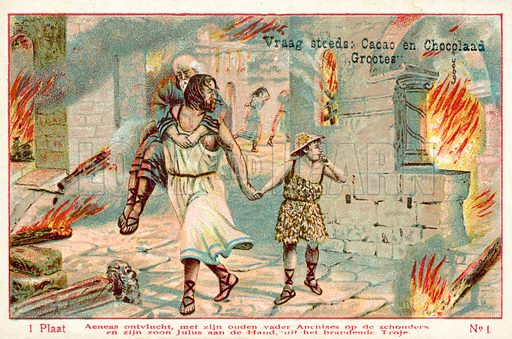 Aeneas flees the burning city of Troy, carrying his aged father Anchises on his shoulders and leading his son Julus by the hand. Educational card, late 19th or early 20th century.