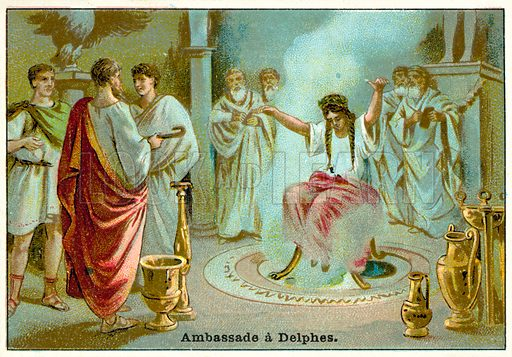 Consulting the Oracle of Delphi. French educational card, late 19th or early 20th century.