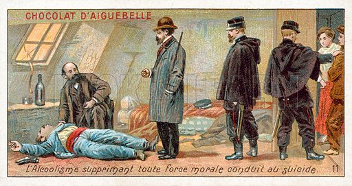 Alcoholism suppresses all moral strength and leads to suicide. French educational card, late 19th or early 20th century.